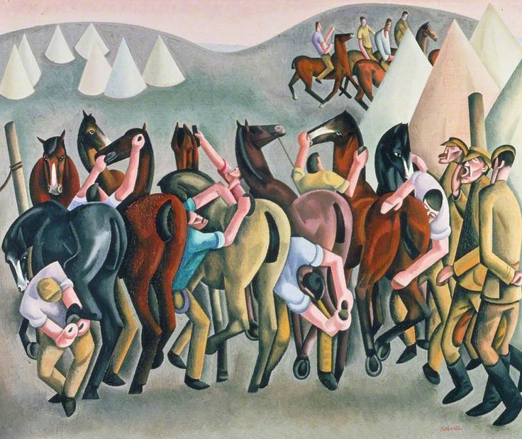 William Patrick Roberts (1895-1980) 'Feeds Round!': Stable Time in the Wagon Lines, France ~ 1922