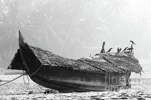 Fishing Boat On The Beach Against Jungle Background In Back Lit Black And White Photo Fishing Photography Salt Water Fishing Fishing Boats