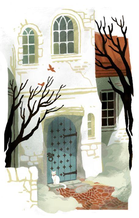 """""""A téglák ősrégieknek tűntek, az egykori élénkpiros mostanra inkább fonnyadt almákra emlékeztetett. A kacskaringós ösvény a ház bejáratához vezetett, egy vidám, kék színű ajtóhoz, amely élesen elütött a fehérre meszelt faltól. Az oroszlánfejet mintázó, szájában fémkarikát szorongató kopogtató csillogása mintha az alatta összetekeredve alvó, fehér macska ellenpólusa lett volna."""" (Kali Ciesemier)"""