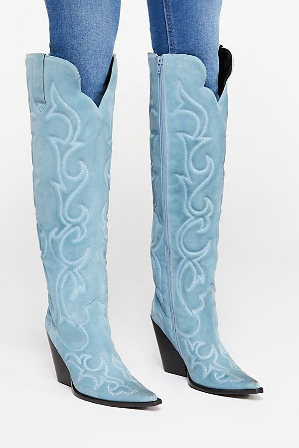 771c1be03df5 Josey Tall Boot - Light Blue Suede Knee High Western Boots - Over the Knee  Boots