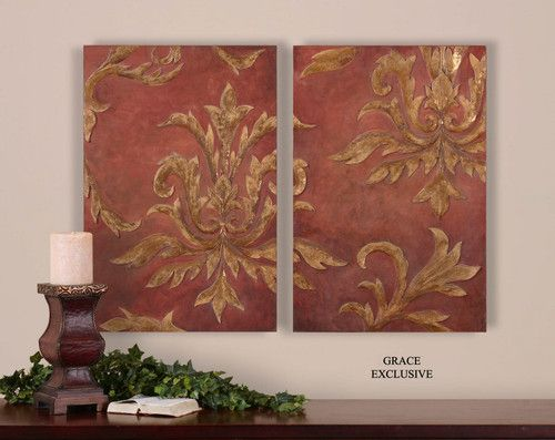 French country tuscan oil painting wall d cor art damask for French country wall paint colors