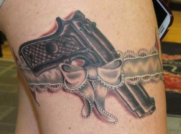 Beretta in Lace Garter Tattoo