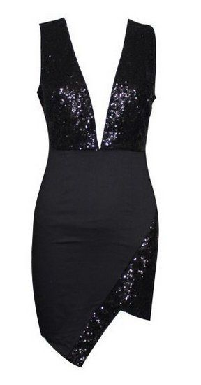 LBD Sequin Plunge Neck Asymmetric Hem Dress - If only I had the body!