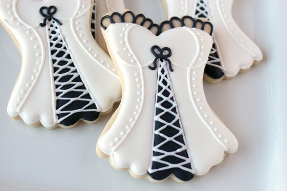 Lingerie Decorated Cookie Favors, Bridal Shower Corset Cookies, Corset Cookies, Risque Cookies