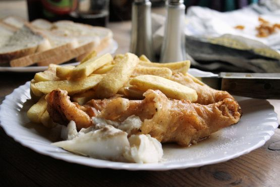 Real English Fish And Chips With Yorkshire Beer Batter Recipe.  I made this for dinner tonight and it was perfect.