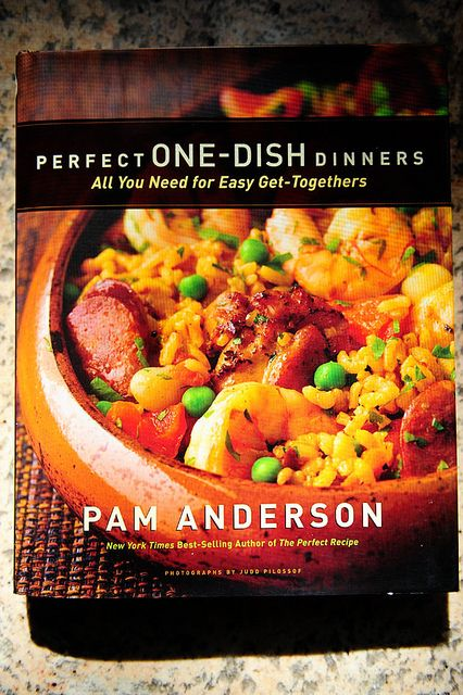 Pioneer Woman cooks from Pam Anderson's Perfect One-Dish Dinners cookbook: deviled egg salad, strawberries in white wine w/sugar, salmon w/lemon-caper relish, roasted fingerling potatoes, lemon cooler cookies, ceviche dip, shredded chuck roast, roasted veggies, cole slaw, & flan