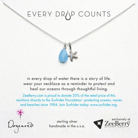 Dogeared Every Drop Counts Surfrider Necklace Sterling Silver