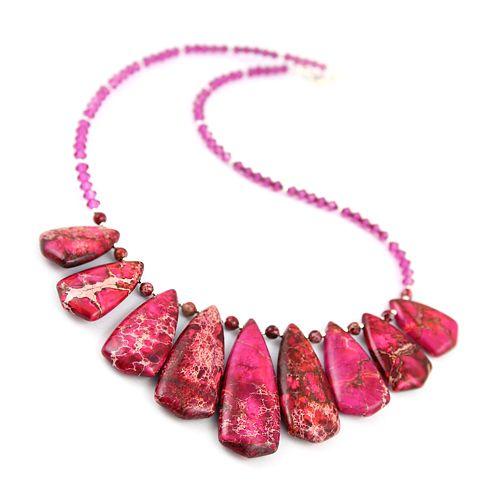 Fuchsia sensation.  Fuchsia jasper and Swarovski crystals. A lovely, orient-inspired necklace.
