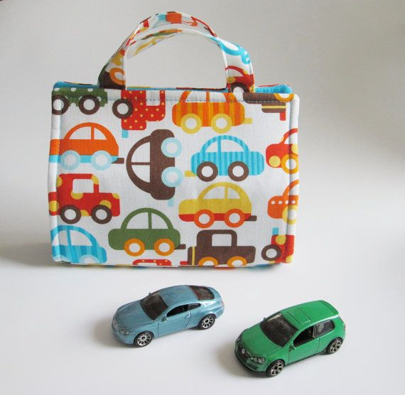 Toy Car TOTE  Holds 8  Kid Car by MyHappyHobbies on Etsy, $24.00