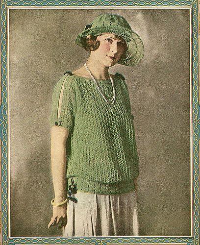 Ravelry: 1923 Summerland Sweater pattern by Needlecraft Magazine1920 S, Fashion 1920, Matching Hats, 1920S Fashion, Crochet Edging, Crochet Hats, Knits Sweaters, Vintage Knits, 1920S Knits