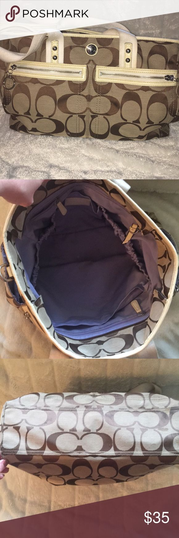Authentic pre-owner coach diaper bag. Please read the whole description :)  This is an authentic coach diaper bag. It has been through both of my kids so it has some stains that need to be taken care of. It measures 16 in. long, 13 in deep and it's very wide. It has several spots on the inside and outside for diapers, bottles and ect.  It has no tears, but needs a good washing on the white handle.  I haven't tried very hard to clean it, other than throwing it in the washer after I was done…