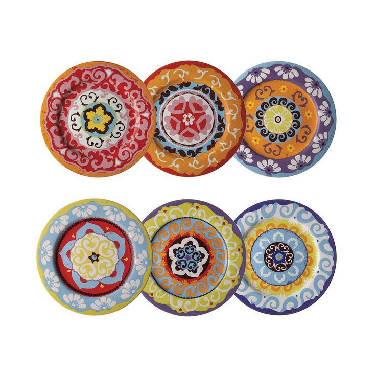 Nador Set of 6 Dinner Plates Mixed Colours Mediterranean Style ! - Designer Homeware Ltd  sc 1 st  Pinterest & 7 best Rose and tulipani dinner service images on Pinterest   Dinner ...