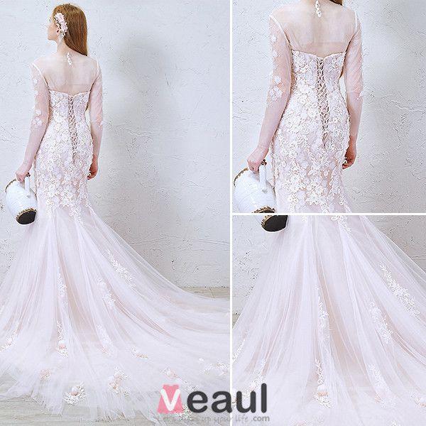 2016 Syrena Koronki Wspanialy Miarka Dekolt Aplikacja Kwiaty Dlugie Rekawy Bez Plecow Rozowy Tiul Suknia Slubna Wedding Dresses Wedding Dresses Lace Dresses