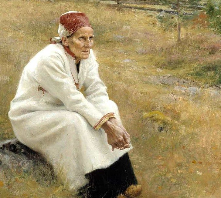 Albert Edelfelt (Finnish painter, 1854-1905) Lady Dreaming Outside Church Detail 1893