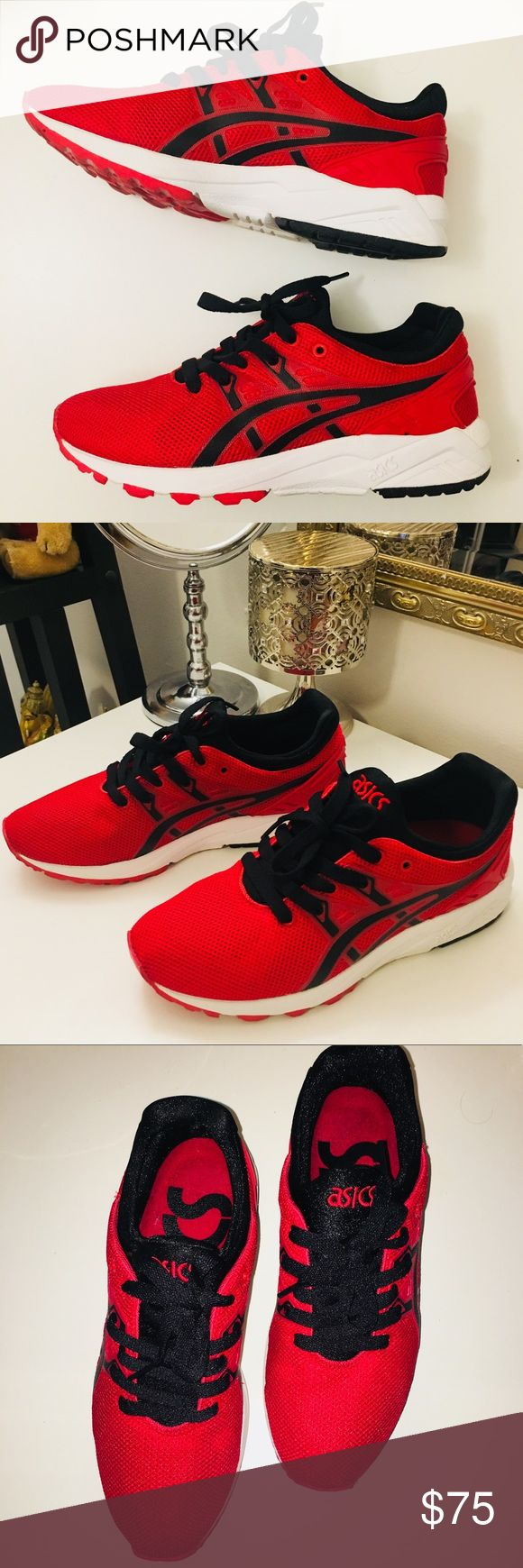 ASICS Gel Kayano Trainer EVO Red/Black GREAT CONDITION Red and black Asics Gel Kayano Trainer model with lightweight upper, TPU on the stripes, and white midsole. Comfortable lightweight feel and a streamlined look. Run slightly big. Asics Shoes Sneakers