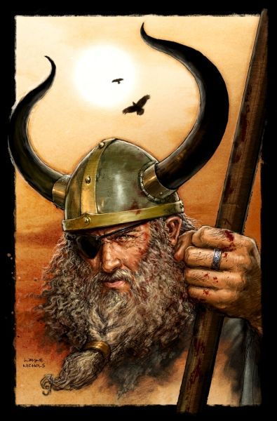 "Odin was the leader of the Norse gods and has a myriad of names including All Father, Ygg, Bolverk (evil doer), and Grimnir. He also has many functions within the myths including being a god of war, poetry, wisdom, and death. However, he is not considered the ""main"" god of each of these functions"