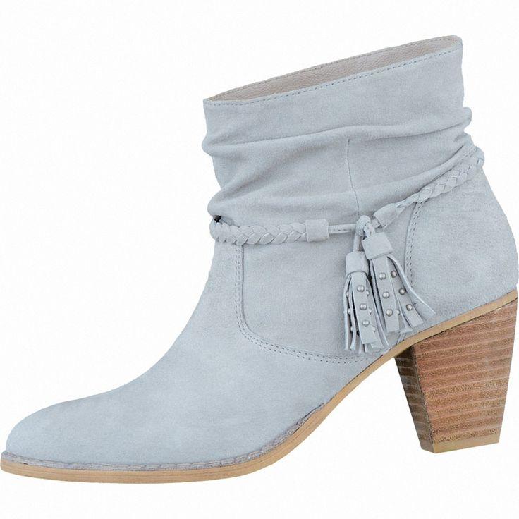 SPM Damen Velourleder Sommer Stiefeletten light grey, Indie-Style, Lederdecksohle, 1636109/40