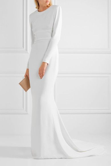 White stretch-crepe Concealed hook and zip fastening at back 64% viscose, 32% acetate, 4% elastane Dry clean