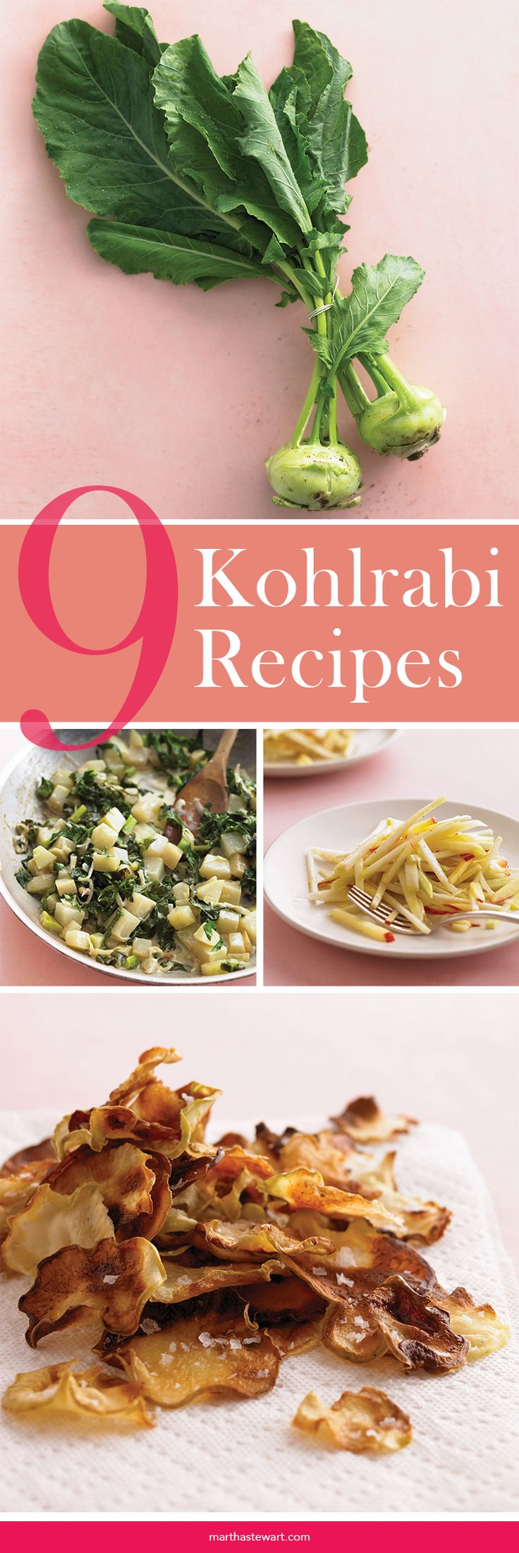 "Kohlrabi Recipes | Martha Stewart Living - Part bulb, part bundle of greens, kohlrabi may seem one of the more intimidating items at the farmers' market, but it offers a delightful combination of familiar tastes. ""It's got the texture of a radish and the sweetness of jicama, with a slight hint of broccoli,"" says food editor Sarah Carey. ""The edible leaves are like a milder version of collards."""