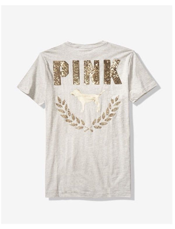 NWT Victorias Secret PINK Graphic Bling Campus Tee Tshirt Size Small  Oversized