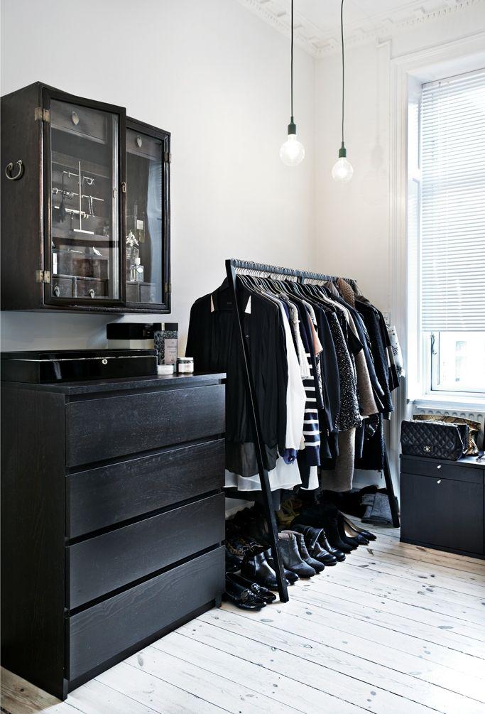 bedroom, wardrobe, storage, ikea, black, closet