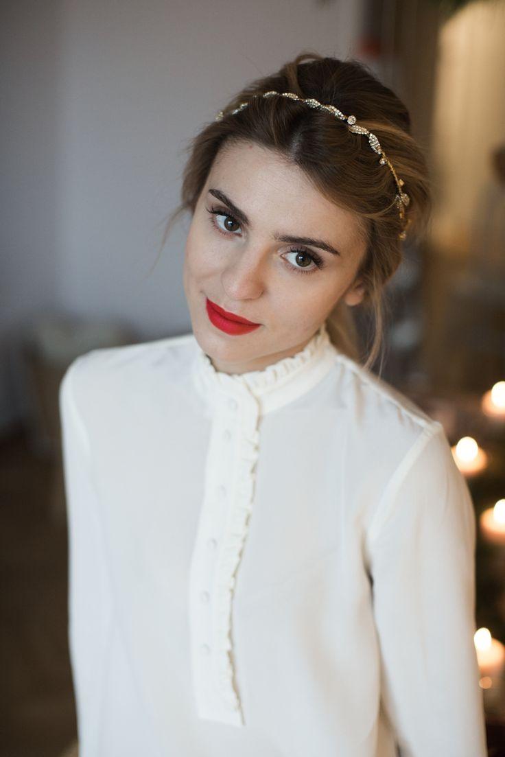 shoes / buty - Baldowski silk shirt / jedwabna bluzka - H&M trousers / spodnie - MLE Collection tiara / diadem - Gosia Baczyńska