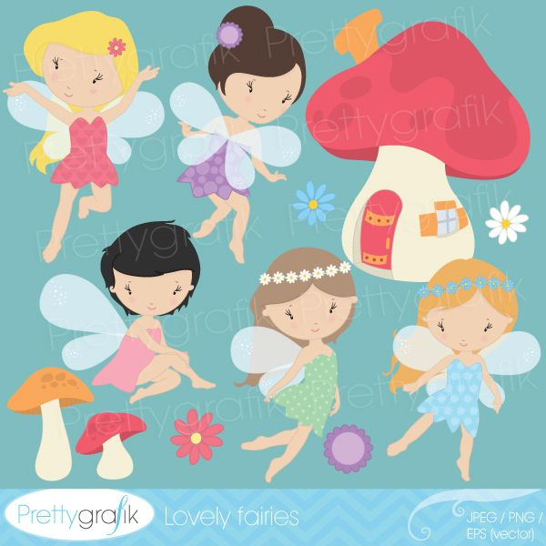 These Lovely Fairies will work well for party themes, invitations, cards and more.