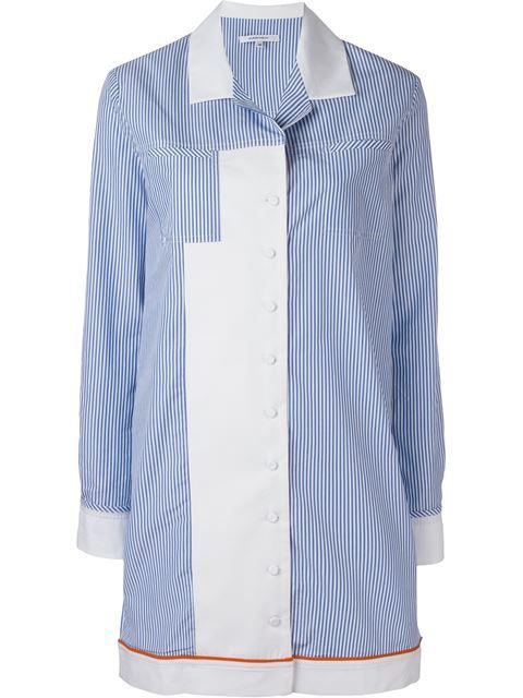 CARVEN Pinstriped Contrast Panel Striped Hem Shirt Dress. #carven #cloth #dress