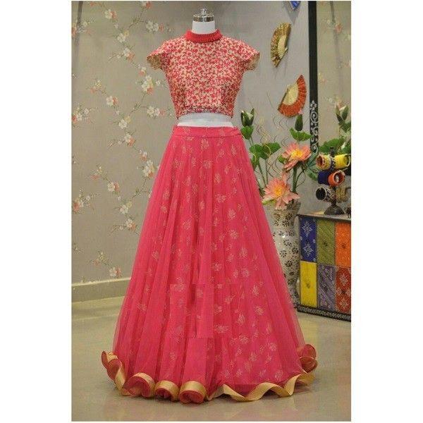 Poly Silk & Net Pink Printed Semi Stitched Lehenga - L1277