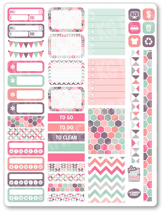 Pastels Functional Kit Planner Stickers for Erin Condren Planner, Filofax, Plum Paper