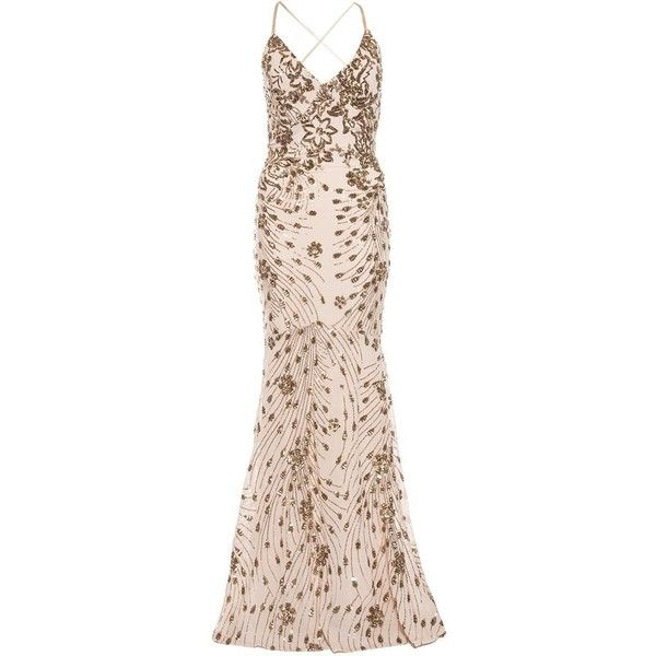 Champagne Sequin Cross Back Fishtail Maxi Dress ($120) ❤ liked on Polyvore featuring dresses, fishtail dress, sequin dress, cross back maxi dress, champagne sequin dress and sequin maxi dress