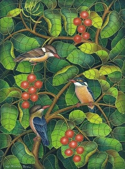 Balinese painting of birds