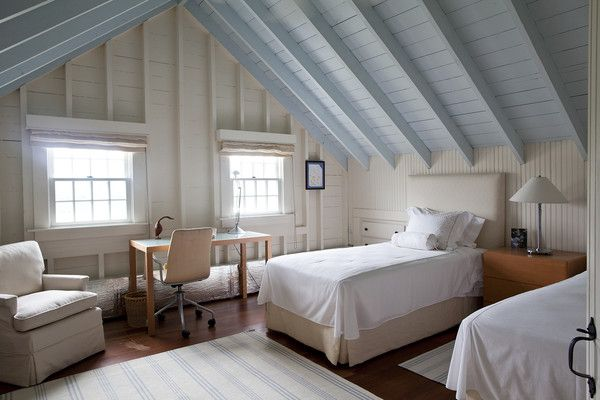 Contemporary Traditional Bedroom: Twin beds under blue ceiling beams in white walled bedroom..
