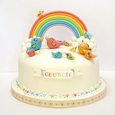 rainbows and birdie cake by Natasha Collins from Amelie's House