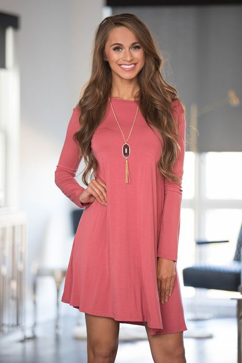 Picture Us Together Piko Dress Dusty Rose - The Pink Lily