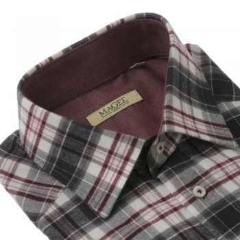 A regular fitting red and brown checked shirt. The fabric is a soft brushed cotton. Features include, single, adjustable cuffs, breast pocket and contrasting internals.