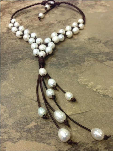 Leather and Freshwater Pearl Necklace Mali by AdiDesigns on Etsy