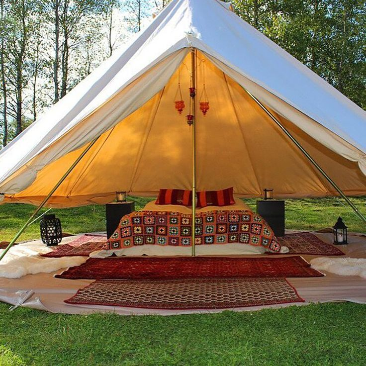 DANCHEL 5M Cotton Canvas Bell Tent Waterproof tipi tent with mesh on door window 5 meters / 16.4 feets diameter-in Tents from Sports & Entertainment on Aliexpress.com | Alibaba Group