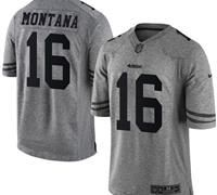 Nike San Francisco 49ers #16 Joe Montana Gray Men's Stitched NFL Limited Gridiron Gray Jersey