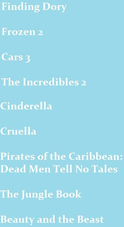 I am so looking forward to these movies coming out from Disney, well... mostly  ''Pirates of the Caribbean: Dead Men Tell No Tales''