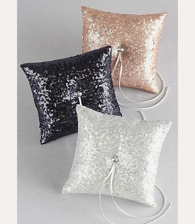 Sequin Ring Bearer Pillow with rhinestone center. DB01270RP Comes in navy blue, blush, gold and silver sequins.