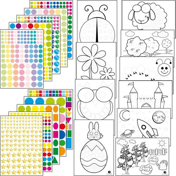 Kit de 1067 gommettes (10 planches) et 10 dessins à personnaliser : une coccinelle, une fleur, une chouette, un château fort, un mouton, une fusée...