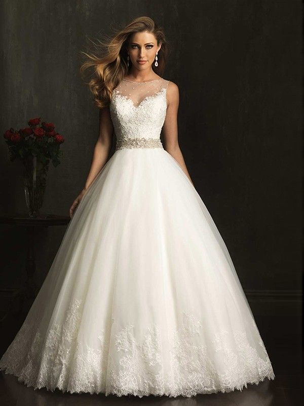 A-Linjeformat Hög Hals rmlös Spets Beading Tyll Wedding Dress