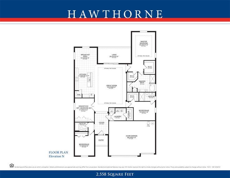 DR Horton Hawthorne Floor Plan New Home Floor Plans Pinterest