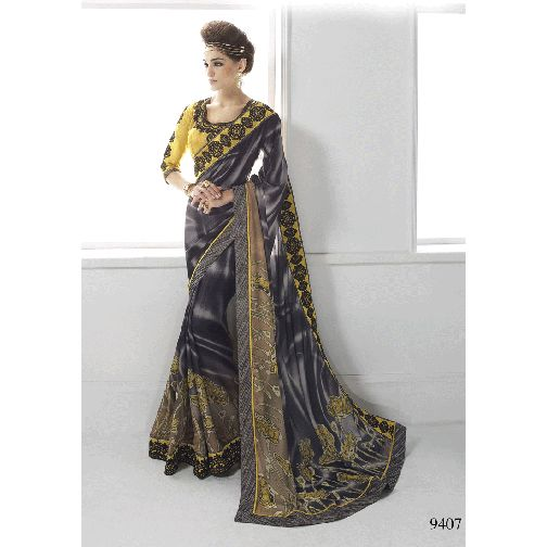 Black and Brown Color Saree