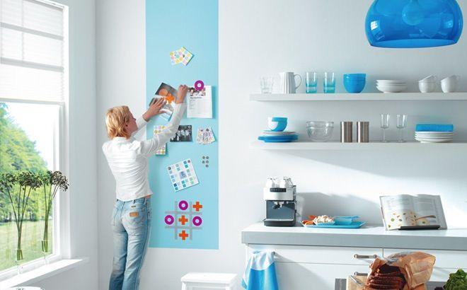 Met magneetverf kan je bijna elk materiaal magnetisch maken. Magnetische verf gebruiken als memobord in de keuken of een leuke wand in de kinderkamer.