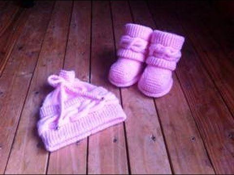 Boots style Uggs tricot bébé 1/ Botitas bebe dos agujas Uggs 1 - YouTube