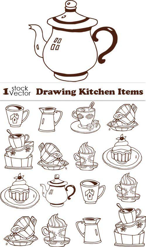 Зарисовки чашек, чайничков для заварки, кофейников и блюдец с десертом - вектор
