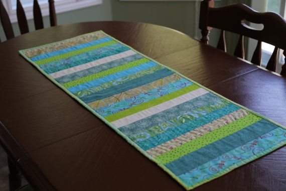 Striped Quilted Table Topper Spring Quilted by OhSherryQuilts