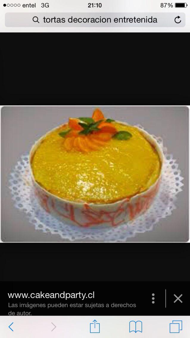 Decoracion torta panqueque naranja